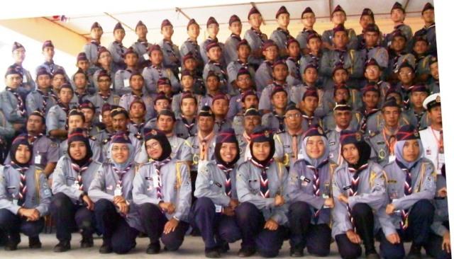 Sebahagian dari pelajar yang hadir dan mengikuti program Pentarafan Ujian Pengakap Raja Negeri Johor
