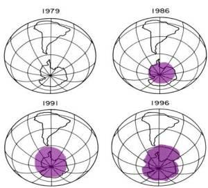 """Gambar ini menunjukkan lapisan ozon semakin menipis sehingga ternampak ada """"lubang"""" pada lapisan atmosfera"""